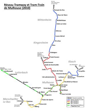 Mulhouse tramway - Map of Mulhouse tramway