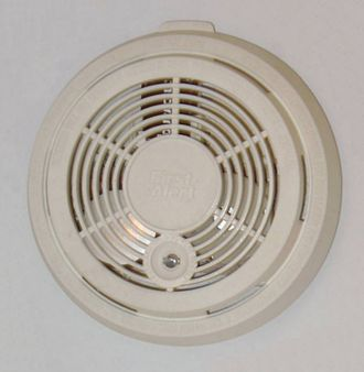 Active fire protection - Detection:A common, residential smoke detector sounds an alarm when smoke is detected, to initiate egress.