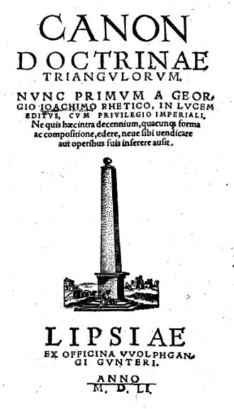 Georg Joachim Rheticus - Frontpage of Canon Doctrinae Triangulorum