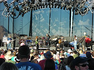 Reunions of the Grateful Dead - The Rhythm Devils at Sam Boyd Stadium in Las Vegas on October 29, 2006. Left to right: Mike Gordon, Bill Kreutzmann, Jen Durkin, Mickey Hart, Steve Kimock, Sikiru Adepoju