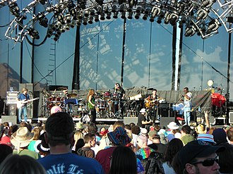 Reunions of the Grateful Dead - The Rhythm Devils at Sam Boyd Stadium in Las Vegas on October 29, 2006. Left to right: Mike Gordon, Bill Kreutzmann, Jen Durkin, Mickey Hart, Steve Kimock, Sikiru Adepoju