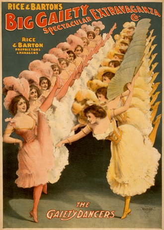 Chorus line - Theatrical poster from 1900 showing an early chorus line.