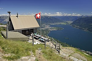 Lake Maggiore - View of the upper lake and the Brissago Islands from above Brissago