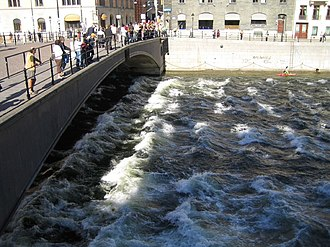 Riksbron - Kayakers, streams, and admirers at Riksbron in September 2006.