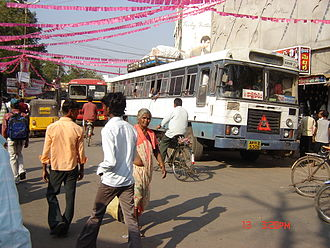 Mahabubabad - Busy center and bus stop at railway station, looking toward Bus Stand Road