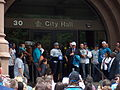 Rochester Knighthawks - 2012 - Cody Jamieson at city ceremony.JPG