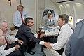 Ronald & Nancy Reagan, Ken Khachigian, Larry Speakes, Don Regan, and Dennis Thomas aboard Air Force One.jpg