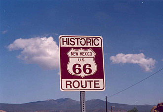 Scenic route - Modern-day sign in New Mexico, along a section of Route 66 named a National Scenic Byway