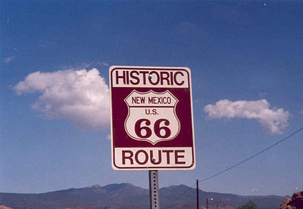 Modern-day sign in New Mexico, along a section of Route 66 named a National Scenic Byway Route66 sign.jpg