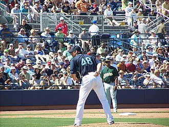 Roy Corcoran - Corcoran pitches one inning during the Mariners' 8-5 win over the Oakland A's.