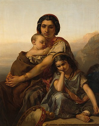 Louis Gallait - Gypsy woman with two children (1852)
