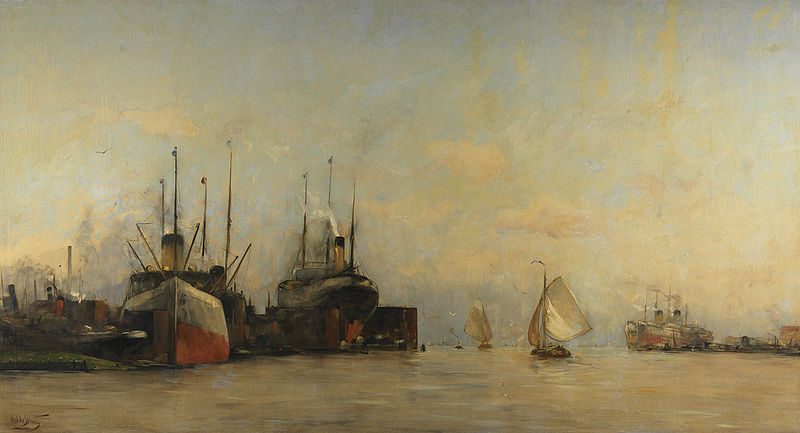 Venir à Amsterdam en bus peut être moins glamour qu'en bateau, mais un peu plus rapide. Peinture de Hobbe Smith.