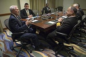 Bülent Bostanoğlu - Adm. Bülent Bostanoglu (at right) in a meeting with U.S. Secretary of the Navy Ray Mabus.