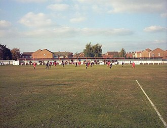 Selby Town F.C. - Image: SELBY TOWN RIGID PAPER STADIUM FLAXLEY ROAD STAND AND TERRACE