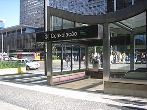 Metro station - Outside the Consolação Metro station on Paulista Avenue in São Paulo, Brazil
