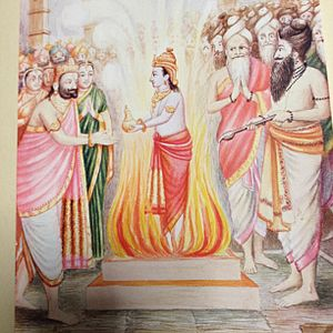 Putrakameshti - Putrakameshti performed by King Dhasharatha-Rishyashringa performed the holy sacrifice and the final day of the event, a dark skinned deity appeared from sacrificial altar and handed over a vessel of payasam to Dasharatha.