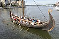 Saga Oseberg viking ship replica 2012 Tønsberg Norway Tourists rowing oars Byfjorden Harbour havn etc Viewed from Kaldnes bro footbridge 2019-08-24 4616.jpg