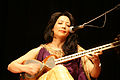 Sahba Motallebi, Iranian femal singer playing tar (lute), Nowruz concert, International House, 2010-04-01.jpg