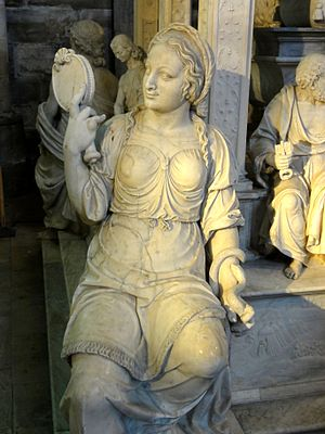 Prudence - Prudentia, with her attributes of mirror and snake, detail from the 1515 monument of King Louis XII in St Denis, Paris