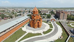 The centre of Masis with Saint Thaddeus Church