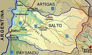 Salto Department - Topographic map of Salto Department showing main populated places and roads