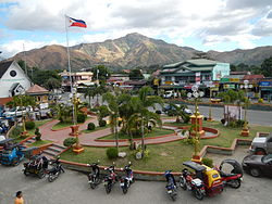 View of San Antonio Town Plaza with Redondo Mountains in the background