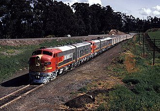San Francisco Chief - EMD F7s lead the San Francisco Chief west of Hercules, California in April 1971, just prior to discontinuance. Note the mixture of single-level and Hi-Level equipment.