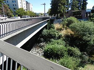 San Lorenzo Creek - View from bridge, downtown Hayward