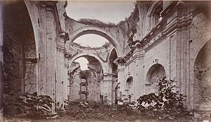 San Francisco Church (Antigua Guatemala) - San Francisco Church ruins in 1875; the Green Goddess temple scenes of the movie The New Adventures of Tarzan were filmed at this location in 1935. Photograph by Eadweard Muybridge.