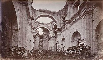 The New Adventures of Tarzan - San Francisco church ruins in 1875; the Green Goddess temple scenes were filmed at this location in 1935. Photograph by Eadweard Muybridge.