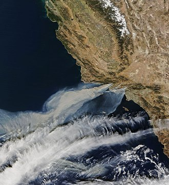 Santa Ana winds - The Thomas Fire and two other fires burn out of control near Ventura in December 2017, with a strong Santa Ana wind driving the flames toward the coast and blowing the smoke offshore.