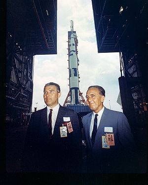 Kurt H. Debus - Debus (right) and Wernher von Braun at a Saturn V test vehicle rollout, 1966