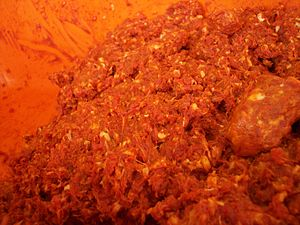 Sausage making - Meat ready for sausage making