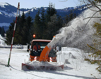 Snow blower - A snow blower at work in Upper Bavaria, Germany, 2005
