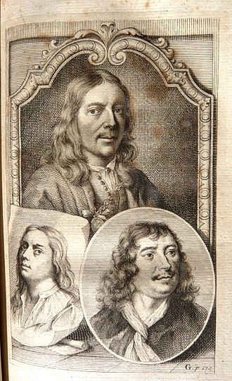 "Johannes Lingelbach - Portrait of the brothers Jan and Samuel van Hoogstraten (with honorary medaillon) with the portrait of Johannes Lingelbach (right), in Arnold Houbraken, ""Schouburg, Volume II', 1719"