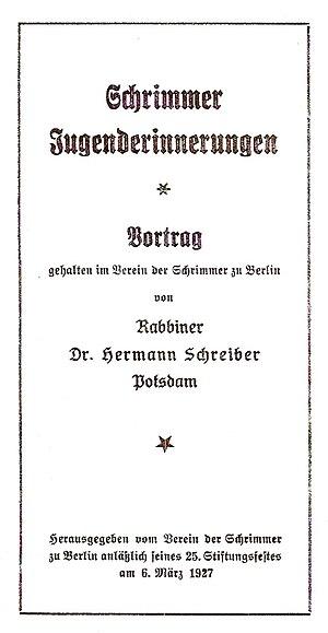 Hermann Schreiber - First edition of Hermann Schreiber's Schrimm – Memories from Our Youth