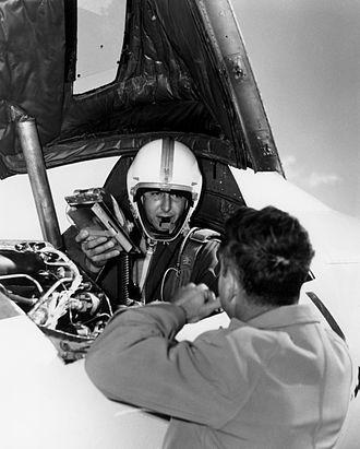 Albert Scott Crossfield - Crossfield in the cockpit a Douglas D-558-II Skyrocket during November 1953