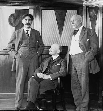 Beard (right) with Scouting founder Robert Baden-Powell (seated) and Ernest Thompson Seton (left) Scouting pioneers.jpg
