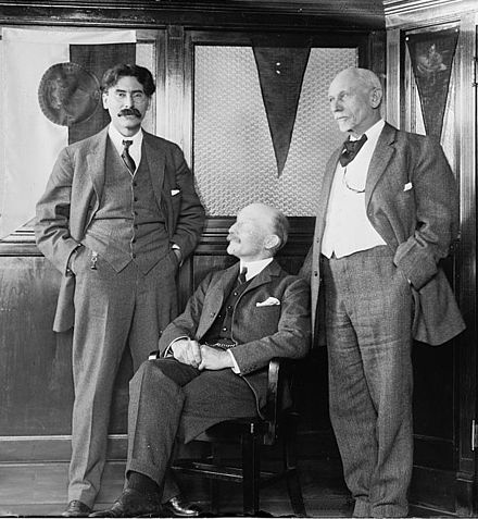 Ernest Thompson Seton with Baden-Powell (seated) and Dan Beard (right) Scouting pioneers.jpg