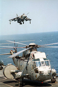 Sea King AEW and Sea Harrier FA2 on HMS Illustrious (R06) 1996.JPEG
