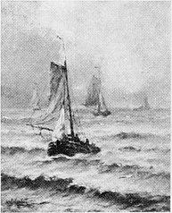Zee met schepen