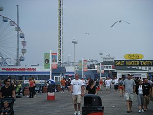 Seaside Heights, New Jersey - Seaside Heights boardwalk looking toward Funtown Pier in 2008