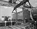 Seatrain Louisiana, Hoisting ATSF Railroad Freight Car from Cargo Hold, Seatrain Lines.jpg