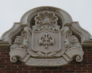 One of several terracotta insignia on Garfield...