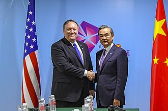 Wang Yi (politician) - Wang with US Secretary of State Mike Pompeo in 2018