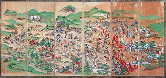 Sanada Nobuyuki - Edo period screen depicting the Battle of Sekigahara.