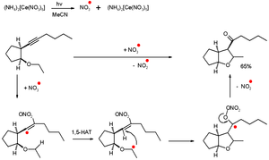 Free-radical addition - Self-terminating radical cyclization