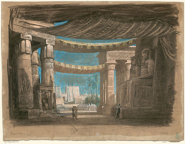 Act 2, scene 2, set design for the Cairo premiere by Edouard Desplechin Set design by Edouard Desplechin for Act2 sc2 of Aida by Verdi 1871 Cairo - Gallica.jpg