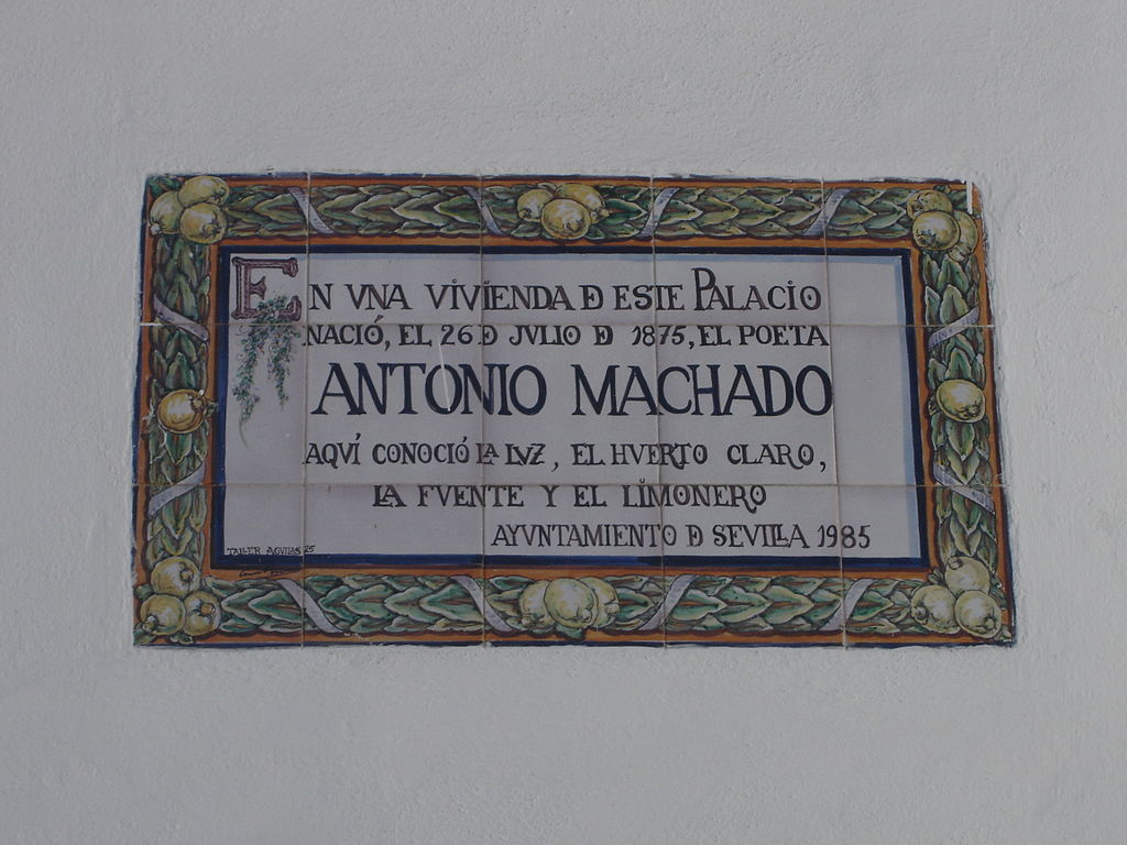 Placa en honor de Don Antonio Machado