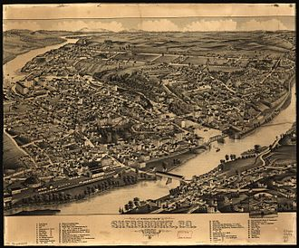 Sherbrooke - Pictorial map of Sherbrooke from 1881 including a list of landmarks